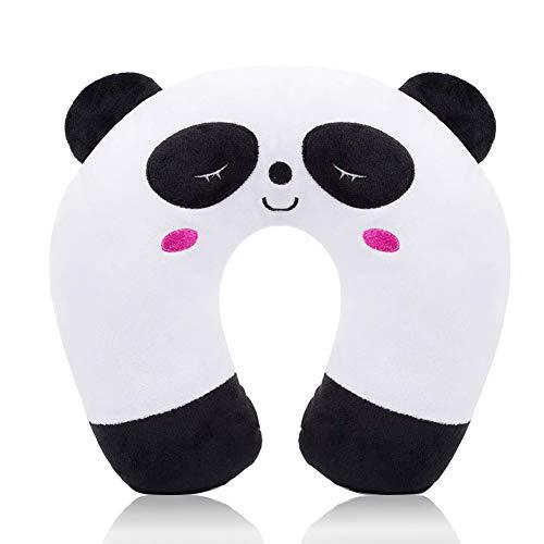 Almohada de Viaje Cuello Cervical reposa Cabezas - Regalos para Coche viajeros Avion Infantiles niñas y Mujer Funda de cojin para reposacabezas Viaje Neck Travel Pillow Accesorios (Panda)