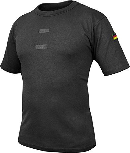 Bundeswehr Tropen T-Shirt mit Deutschlandfahnen und Klettstreifen Schwarz