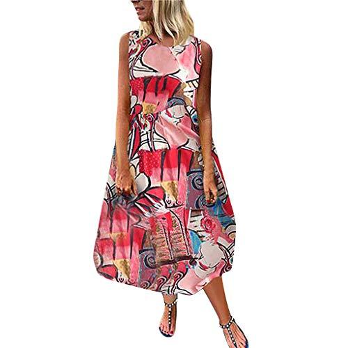 LUGOW Bohemien Strandkleid Damen Sexy Maxikleid Sommerkleider Günstig FreizeitKleider LangKleider PartyBallkleid Abendkleider Ärmellos Cocktailkleider OnlineSale(X-Large,Rot)