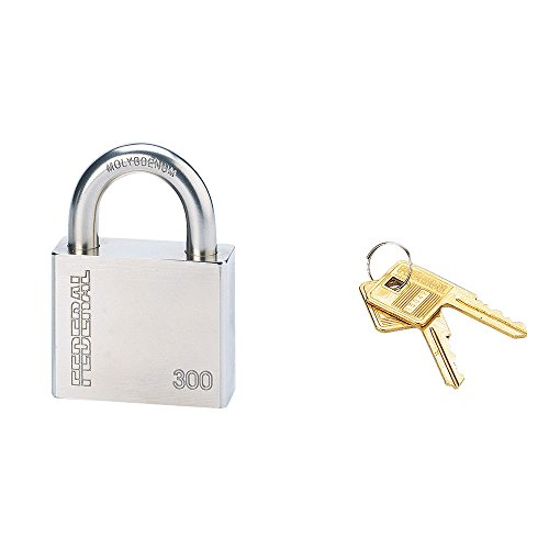 Serrurerie de Picardie 00896510 - Lucchetto SP 300 R, con arco di acciaio al nichel-cromo-molibdeno di 63,5 mm, 2 chiavi in ottone comprese