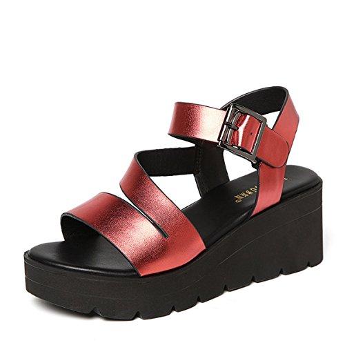 Damen Sandalen Plateau Blockabsatz Metall Offen Rundzehen Flach Knöchelriemchen Sommerlich Freizeit Modisch Schuhe Rot