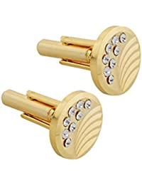 Miaa Fashions Jewellery Fashion Round Cufflinks With Gold Stones Studded