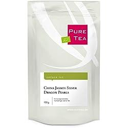 China Jasmin Silver Dragon Pearls (100g) - ein handvearbeiteter Grüner Tee mit feinem Jasmin Aroma