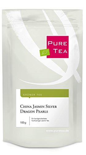 China Jasmin Silver Dragon Pearls (100g) - ein handvearbeiteter Grüner Tee mit feinem Jasmin Aroma (Tee-dragon Grüner)