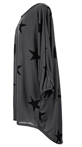 ACVIP Donna Casual Vestito con Gonna Asimmetrico a Stelle Stampate,5 Colori Grigio scuro