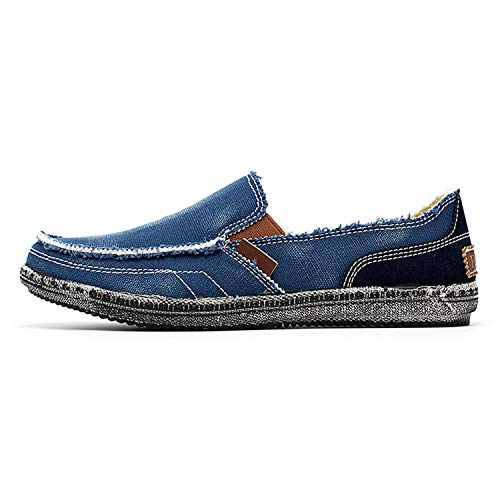 2019 Summer Breathable Canvas Men's Shoes Casual Business Men's Shoes Large Size Soft Bottom wild Loafers Shoes Blue 7.5 -