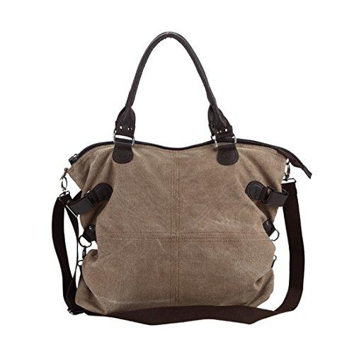Cool&D Damen Canvas Tasche Mädchen Umhängetasche Shopper Schultertasche Leinwand Tragetasche für Freizeit Schul 45*18*40cm Braun