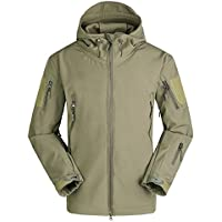 GAOGAS Soft Shell Tactical Outdoor Jacket con Capucha para Hombre,Green,M