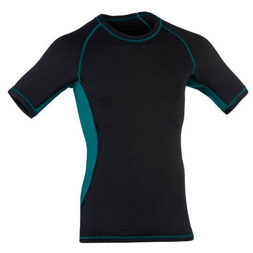 Engel Sports Herren Kurzarm Shirt aus Bio Merinowolle und Seide mit Elasthananteil ESM 15020 2120-9973, Black/Hydro Gr. L - Kurzarm Shirts Herren Seide