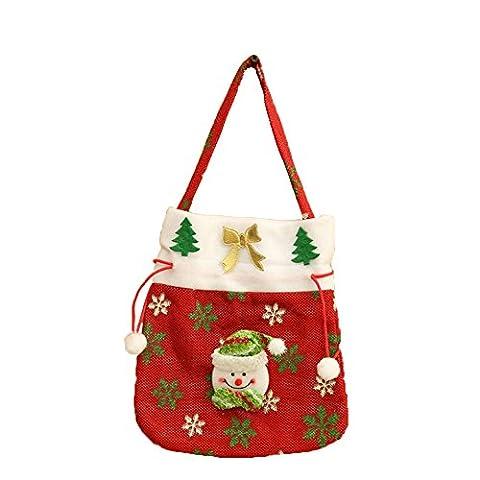 FUNDIY Christmas Tree Decor Ornament Santa Claus Snowman Candy Bag Gift Pocket Present Sack Xmas Favour Party Bags Shopping Tote Bag