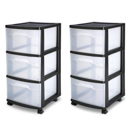 Aufbewahrungsbox mit 3 Schubladen, Kunststoff, Schwarz, 2 Stück -