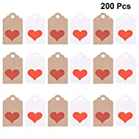 Amosfun 200pcs Valentines Day Gift Tags Kraft Paper Tags Wedding Hang Tag Labels Party Favor Dupplies for Engagement Anniversary Propose Marriage Birthday