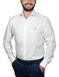 """DOMENICO AMMENDOLA, Camicia da Uomo """"Gold"""" bianca, cotone 100%, slim, collo francese largo"""