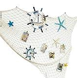 Toruiwa Deko Fischernetz Maritime Dekoration mit Farbigen Muscheln für Schlafzimmer
