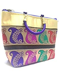Online Choice Multipurpose Designer, Art Printed Women / Girls Hand Bag Carry Case, Handcrafted - Multicolor