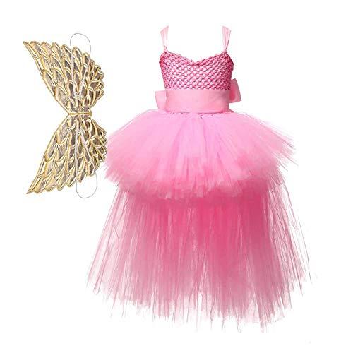 GLXQIJ Kinder Regenbogen Kleid Cosplay Party Kostüm, Fee Kostüm Prinzessin Tutu Rock Zum Geburtstag, 1-7 Jahre, Mit Flügel,Pink,80CM (Wasser Fee Kostüm Kinder)