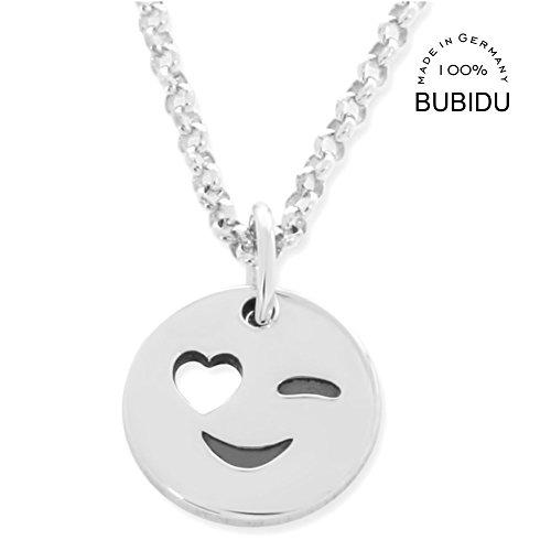 Smiley Kette Silber  Silberkette Mädchen mit Herz  Geschenk Freundin Beste Freunde Freundschaftskette Erbsenkette | HANDMADE IN GERMANY