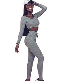 YAANCUN Damen Sport Yoga Outfit U-Ausschnitt Langarmhemd Plus Jumpsuit Hut  + Fest Leggings 3fd6d8b939