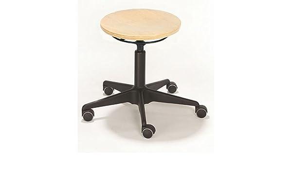 Sgabello modello girevole con rotelle versione in legno di