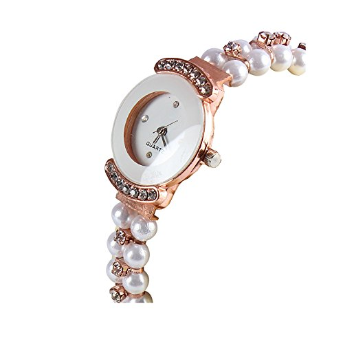 Reiz Pearl Belt Round Analogue White for Women & Girls - Get Free Extra Battery