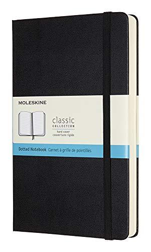 Moleskine Klassisches Notizbuch (mit Punktraster und Zusatzseiten (Hardcover mit Elastischem Verschlussband, Größe A5 13 x 21 - 400 Seiten) schwarz