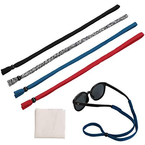 Hifot Brillenband Brillenbänder 4 Stück mit Brillenputztuch, einstellbar Brillenband Sport Sonnenbrillen Band Brillen Kordel Halter Hamen herren