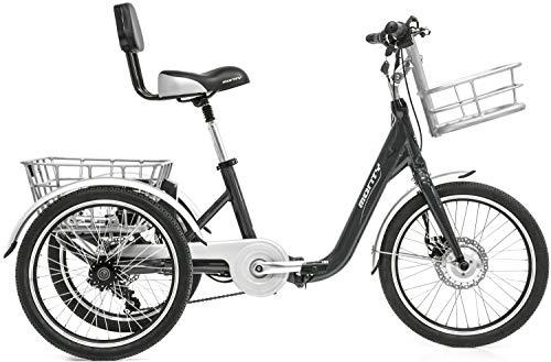 elektroroller senioren Monty Klappbares Elektro Dreirad für Erwachsene E132, Farbe:dunkelgrau