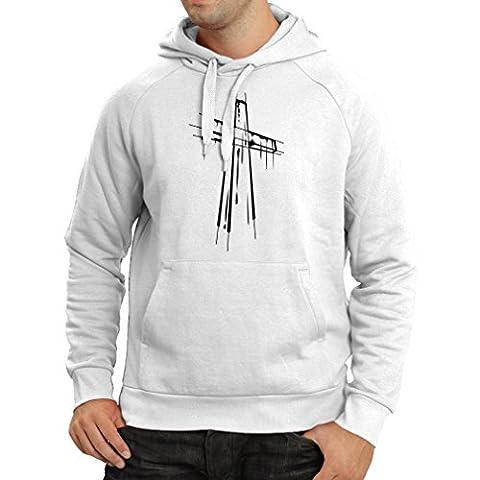 Kapuzenpullover Beunruhigtes Kreuz - Eeligiöse Geschenke, Christliches Kleid (XX-Large Weiß