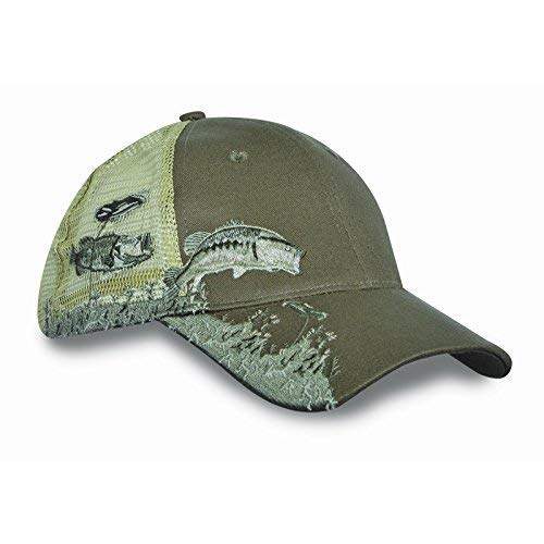 Bass-mesh-hut (KC Caps Unisex Jagd Angeln Cap Stickerei Design Hat mit Air Mesh Rückseite Klett verstellbar, Herren, Bass)