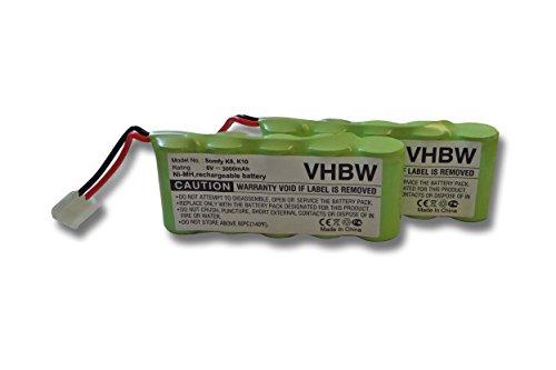 Preisvergleich Produktbild vhbw Sparset 2x Ni-MH Akku 3000mAh (6V) für Werkzeuge Bosch Roll-Lift, Rollfix, Somfy wie 9 500 005, 9000163, FD252/10, 8781105908, 710055.