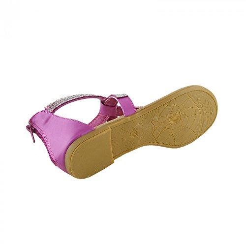 Kick Footwear - Damen Fashion ankle strap t-bar-Sommer-Sandalen Fuchsia