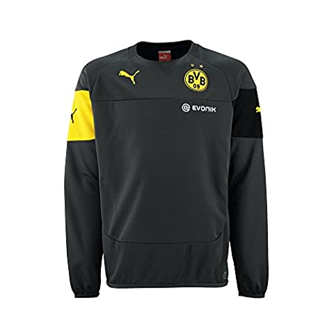 PUMA Herren Sweatshirt BVB Training with Sponsor, Ebony-Black-Cyber Yellow, XXL, 745858 02