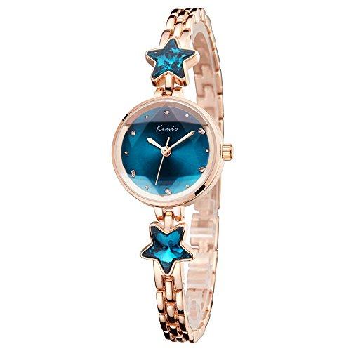 Mode Fünfzackiger Stern Armband Uhr Kleid Uhren Legierung Metall Uhrenarmband Quarz Armbanduhren für Damen Mädchen, Blau