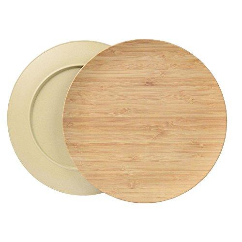 BIOZOYG Ensemble Durable Creuse Assiette I Assiette pour Enfants et de Camping en Bois de Bambou pour Le dîner I 4 pièces d'assiette Plate Ronde 25,5 cm Vert, sans BPA