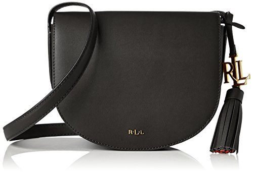 Ralph Lauren - Bolso de hombro de Cuero Mujer, color Negro, talla 7.6x17.1x19.7 cm (B x H x T)
