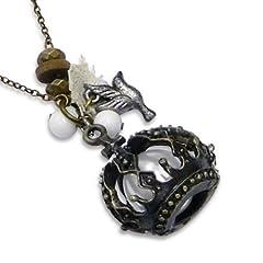 Idea Regalo - Collana lunga, con ciondolo a forma di corona, con perle e ciondoli, a forma di colomba