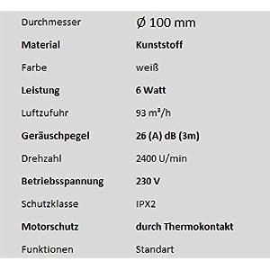 MKK Badventilator Ø 100 mm in weiß