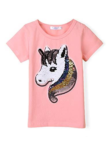 b4dcd463e9 Bricnat Mädchen T-Shirt Wende Pailletten Einhorn Kurzarm Tunika Bluse  Rundhals Top Sommer Casual Rosa 130