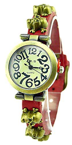 Evil Wear Damenuhr totenkopf Analoges Quarz Uhrenwerk Lederarmband braun