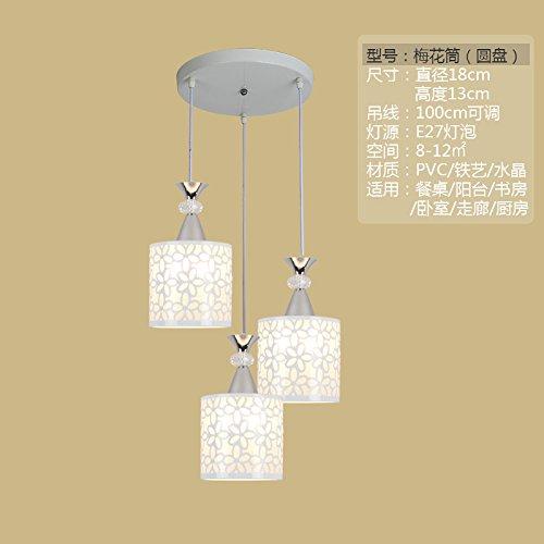 BESPD Modernes minimalistisches Kronleuchter Pendelleuchten für das Esszimmer Schlafzimmer Bügeleisen Pflaume Zylinder + Senden 9 W Glühlampen -