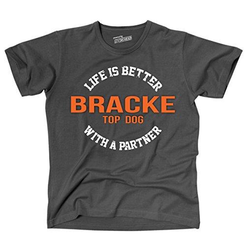 Siviwonder Unisex T-Shirt BRACKE - LIFE IS BETTER PARTNER Hunde Dark Grey