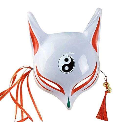 Fox Kostüm Tanz - Halloween Fox Maske für Erwachsene Kinder japanische Kabuki Maskerade Maske Half Face Kostümzubehör