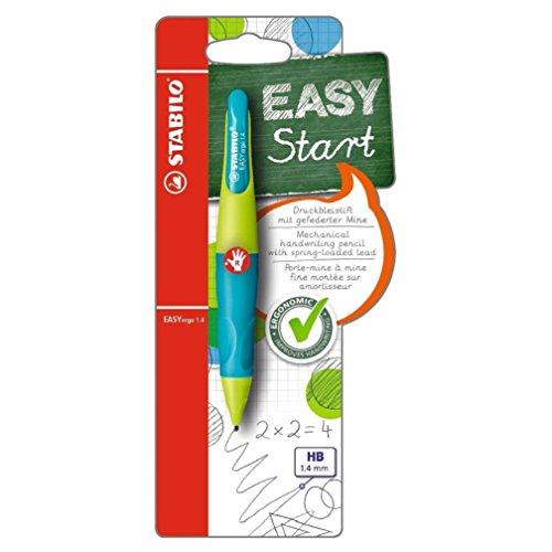 Ergonomischer Druck-Bleistift - STABILO EASYergo 1.4 in neonlimonengrün/aquamarin - inklusive 3 dünner Minen - Härtegrad HB - für Rechtshänder