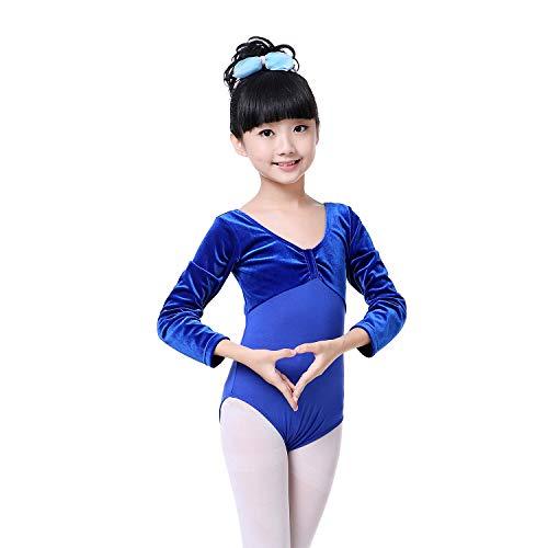 Longra Mädchen Kinder Langarm Ballett Ballettröckchen Kleid Trikotanzug Tanz Kleid Ballett Ballettröckchen Gymnastik Trikotanzug Akrobatik Training Dancewear 2-10Jahre (110CM 2-3Jahre, Blau ()