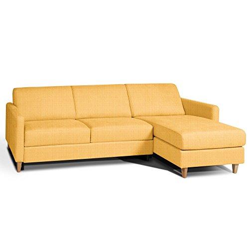 Inside divano letto angolare oslo materasso 14cm sistema rapido rete doghe renatonisi tessuto tweed giallo melone