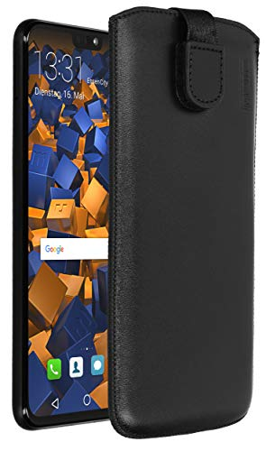 mumbi ECHT Ledertasche für Huawei Honor 8X Tasche Leder Etui (Lasche mit Rückzugfunktion Ausziehhilfe)