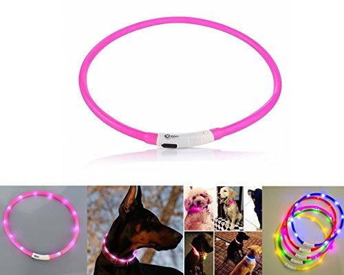 Case Wonder - LED Leuchthalsband Hunde Halsband - USB Wiederaufladbar - Längenverstellbarer Haustier Sicherheit Kragen / Blinkende Kragen Deluxe für Hunde und Katzen - Improved Hund Sichtbarkeit & Sicherheit - 3 Lights Mode & 8 Farben (Rosa)