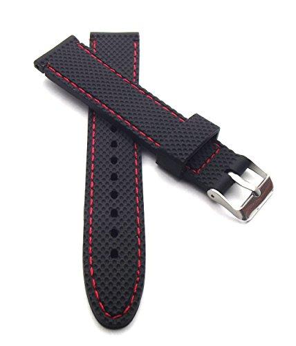 22mm Silicona banda reloj negro con costuras rojas Reloj de pulsera impermeable Caucho Pulsera