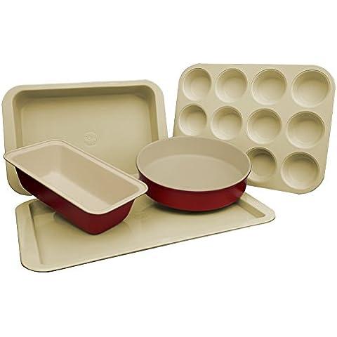 Set per dolci con rivestimento in ceramica antiaderente per arrosti e teglia da forno rotonda e pane, torte e 12Muffin, colore: rosso e crema design (5pezzi)