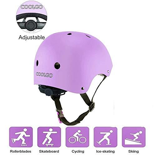 COOLGO Kinder Fahrradhelm, Kinder Skaterhelm Inline Skate Helm Lila BMX Mädchenhelm für Roller Skateboard Scooter Radfahren Bike Sicherheit